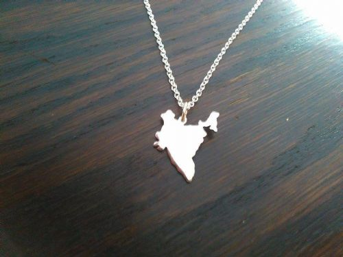 India country map silhouette pendant sterling silver handmade by saw piercing